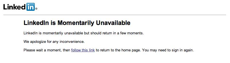 LinkedIn Error Message